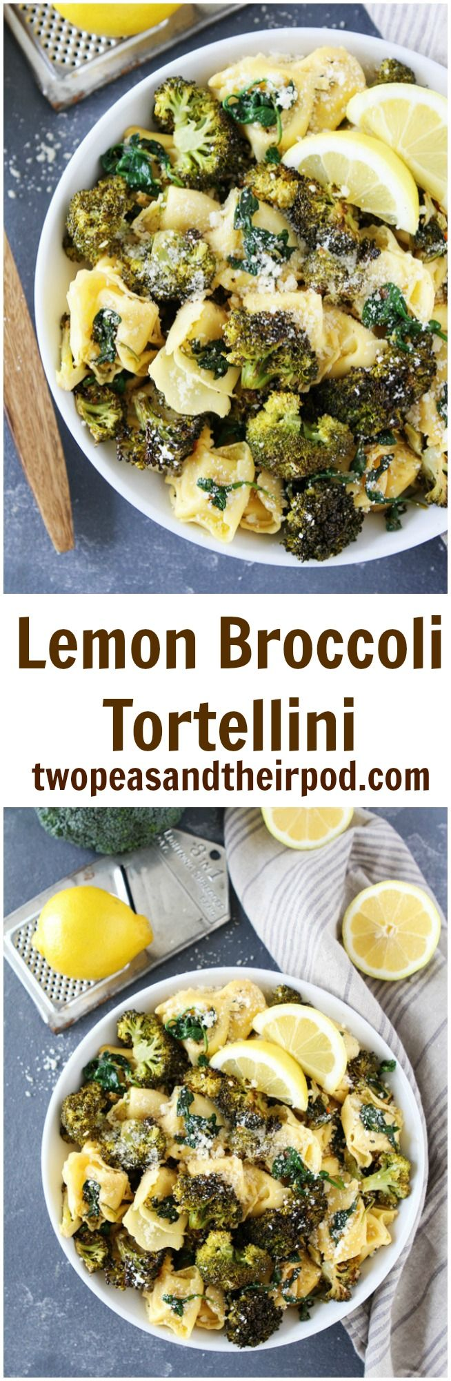 Lemon Broccoli Tortellini Recipe on twopeasandtheirpod.com This easy tortellini pasta dish is bursting with flavor! It is favorite weeknight dinner!