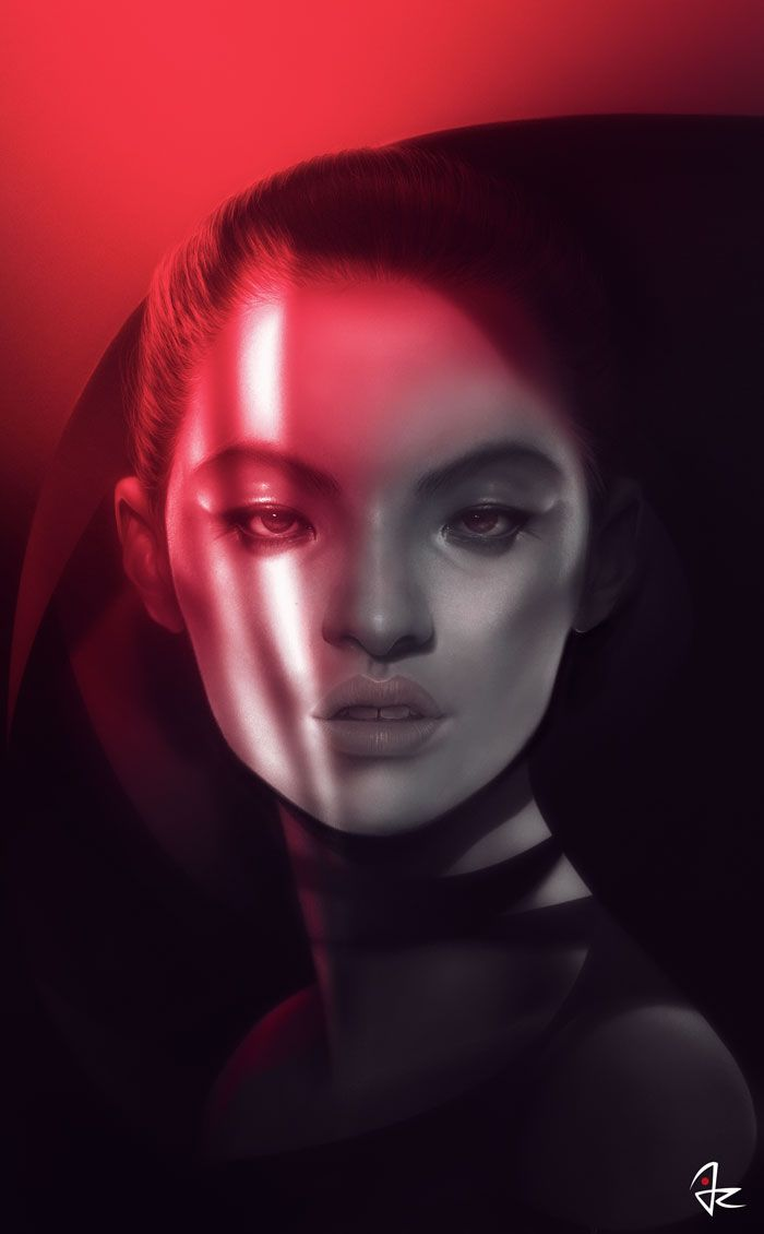 """""""Red Shade"""" digital painting by Giulio Rossi source: https://www.facebook.com/Giulio-Rossi-305385269705/"""