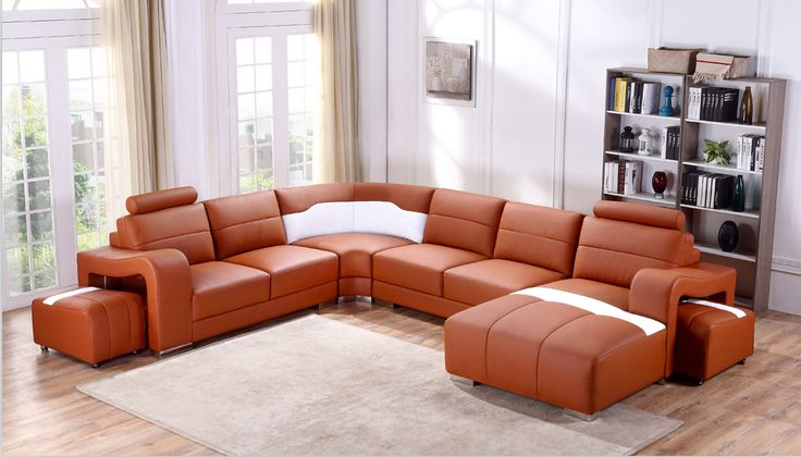 Divani Casa T358B Modern Orange & White Leather Sectional Sofa