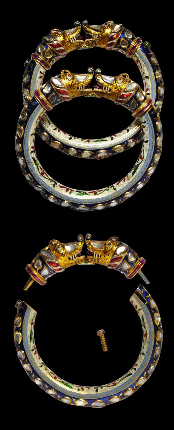 India ~ Jaipur | Pair of gold bracelets with 'Makara' head terminals set with diamonds, rubies and enamel | 19th century || POR