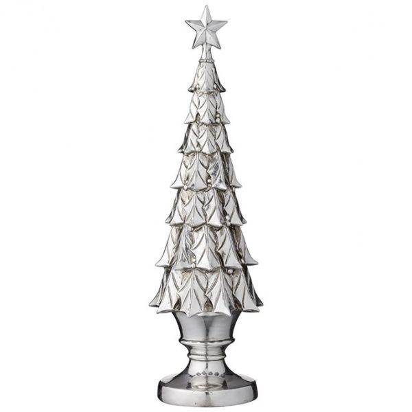Ny modell av de populære Serafina-juletrærne fra Lene Bjerre. Laget av sølvfarget polyresin, høyde 51cm Disse trærne kommer i ulike modeller hvert å