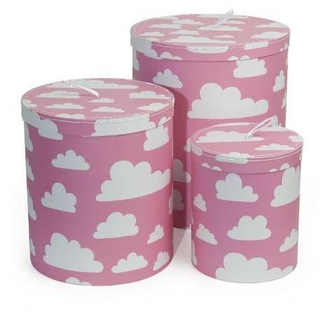 Färg och form Färg & Form, MOLN, Isot pahvirasiat, 3 kpl, Vaaleanpunainen. Rasioihin saa säilöttyä tärkeimmät aarteet. Lastenhuone.