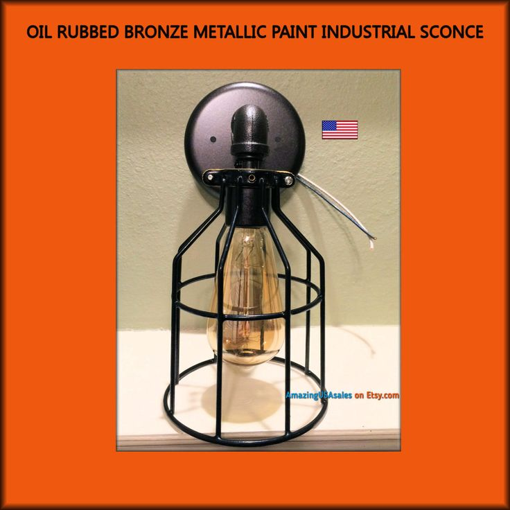 Industrial Sconce Light - Oil Rubbed Bronze - fits your existing electric box - steampunk lamp light - metal pipe light - rustic