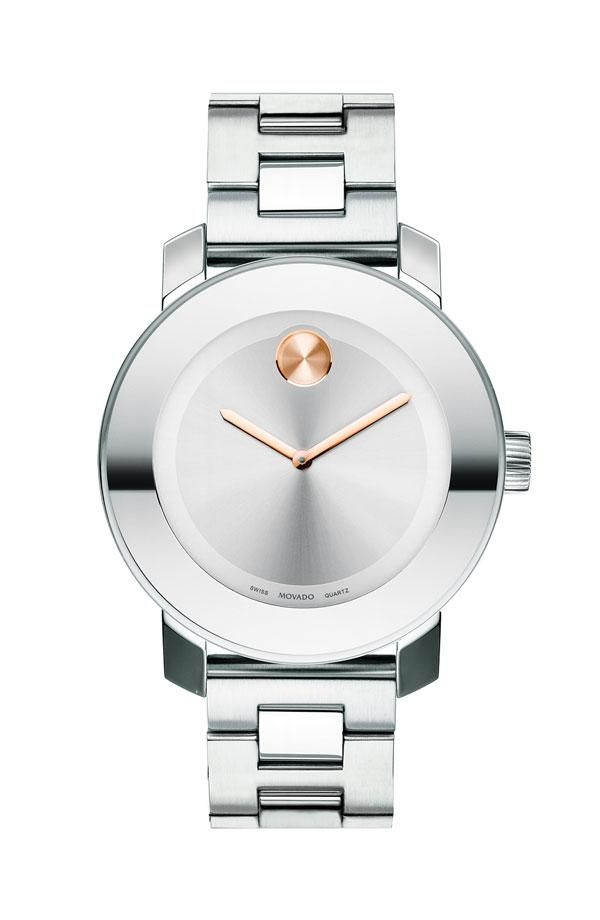 Diamonds reign on this polished Bold collection watch from Movado. | Stainless steel bracelet | Round case, 36mm, K1 crystal, bezel embellished with 90 diamonds (2/5 ct. t.w.) | Silver-tone Museum® di