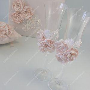 Свадебные бокалы Pale blush с шелковыми цветами