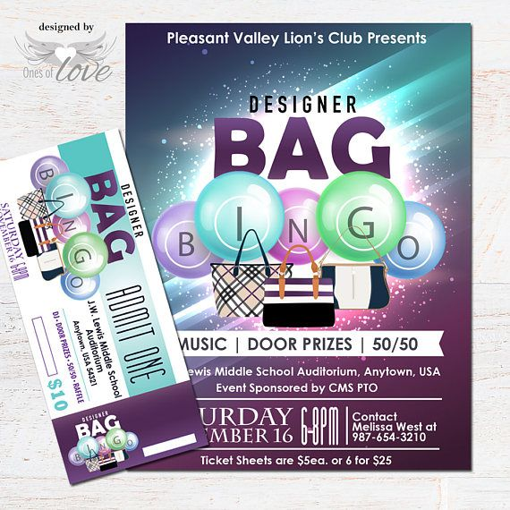Designer Bag Bingo Flyer Fundraising Event Flyer Bingo