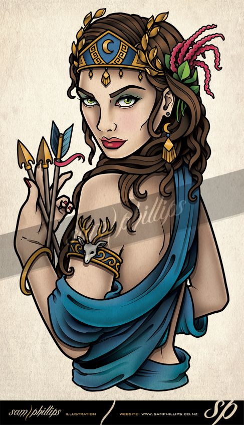 This is an upper arm tattoo of Artemis that I designed for Samantha Warren.Copyright www.samphillips.co.nz