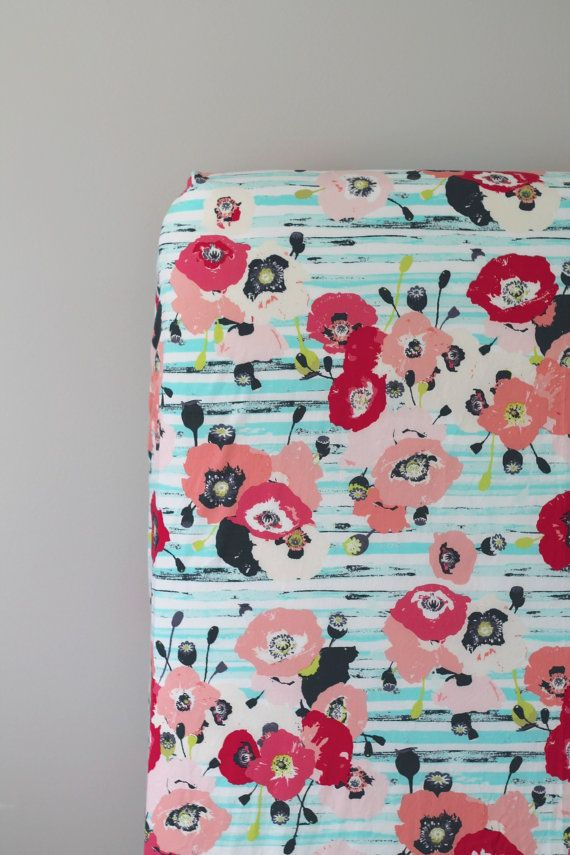 floral fitted crib sheet aqua coral pink by
