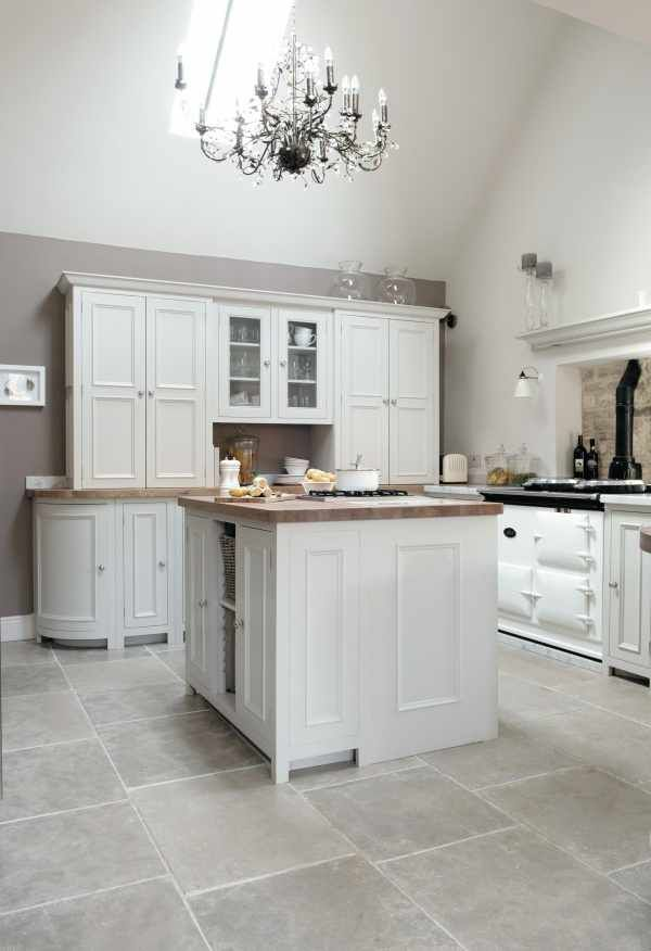 Stone Floors with Silver Birch Chichester Cabinets Neptune kitchen in Cotswolds | Neptune By Sims Hilditch