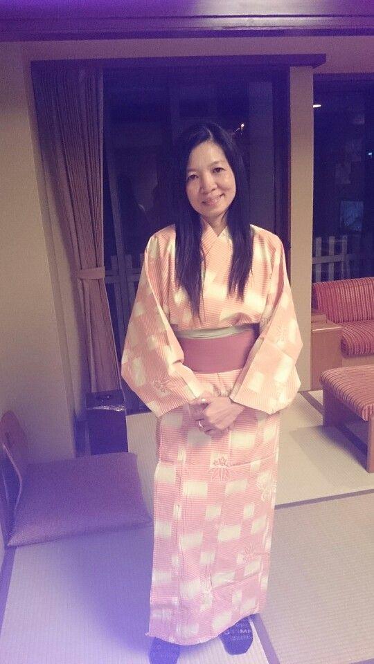 Wearing a japanese dress. Kimono
