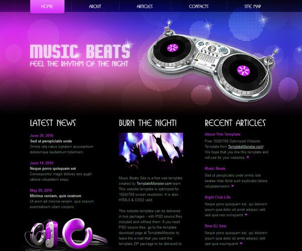 Music Beats Website Template