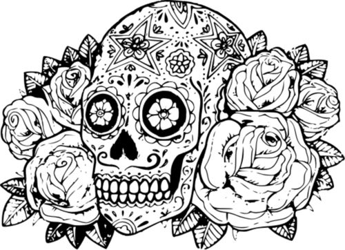 trippy sugar skull colouring pages 2 - Sugar Candy Skulls Coloring Pages