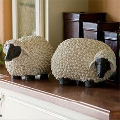 """Kaboodle's Garden Sheep from stone-look resin.  Each measures approx. 15"""" wide by 9"""" deep by 8 1/2"""" high."""