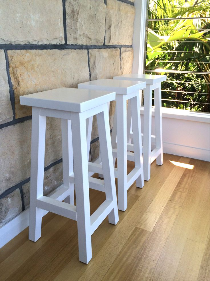 White timber bar stools