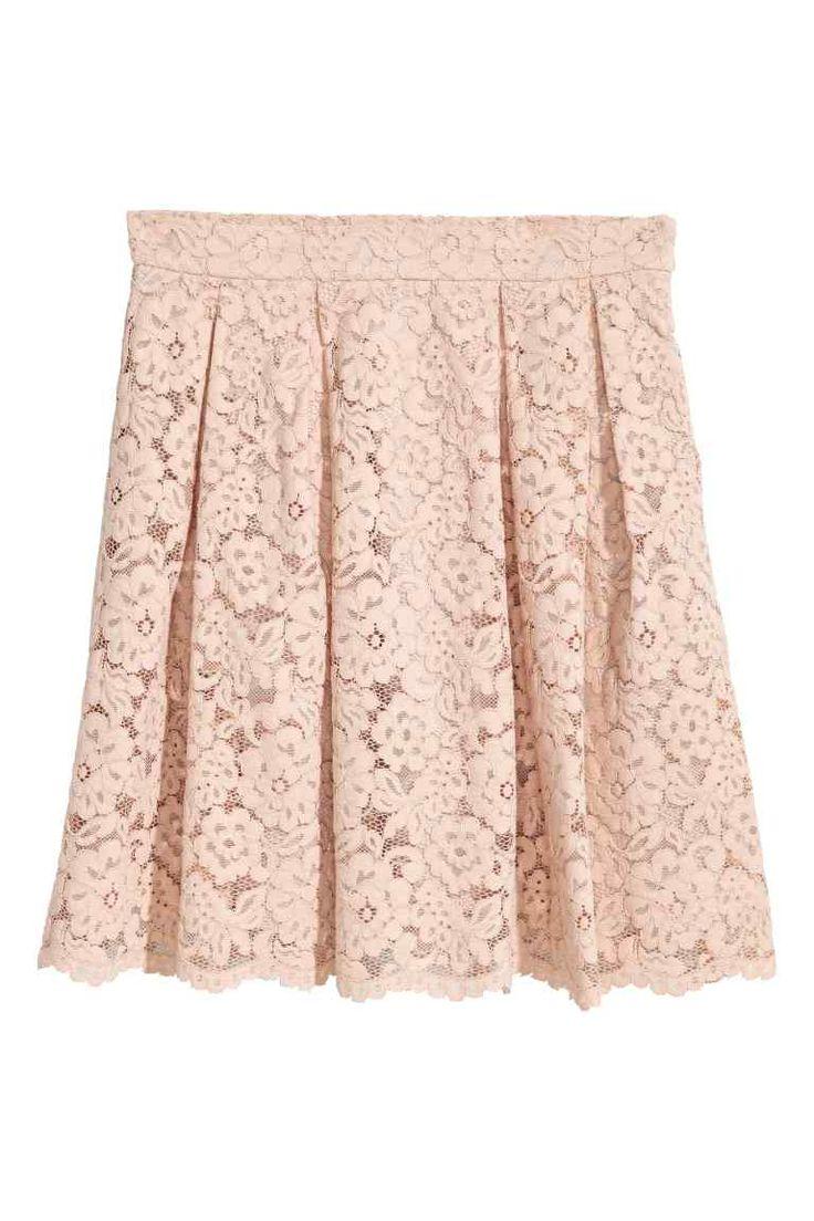 Falda corta de encaje - Beige - MUJER   H&M ES