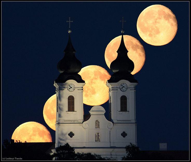 tihany hungary | Moon rises behind the famous Archabbey of Tihany in Hungary. Tihany ...