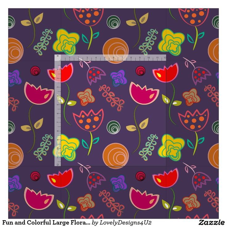 Fun and Colorful Large Floral Pattern Fabric