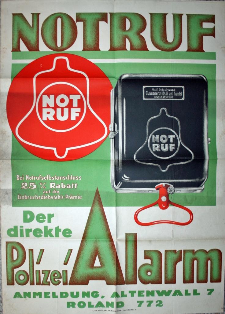 Original Plakat Polizei Notruf um 1920 - Lithgrapie Police 90 x 65 cm Angebot unter:  http://stores.ebay.de/The-Crow-Gallery