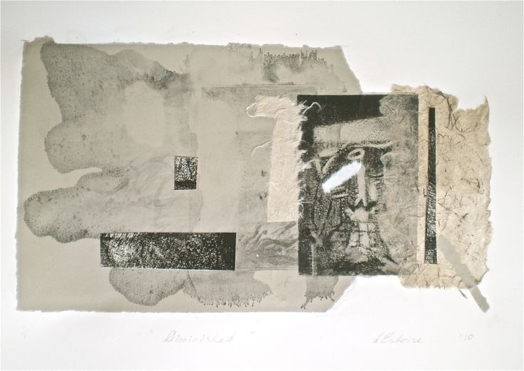 Diminished, 1/1, 2010, intaglio, wash and collage 20x33 cm print, 35x50 cm paper, by Elaine d'Esterre at elainedesterreart.com and www.facebook.com/elainedesterreart/