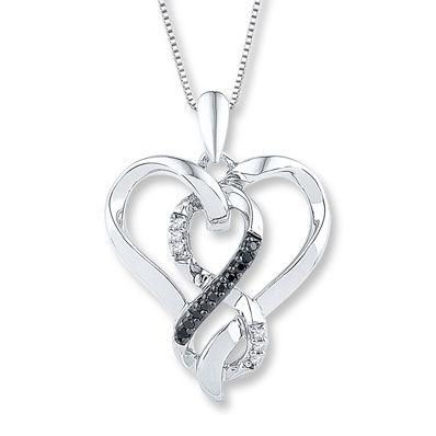Artistry Diamonds Diamond Heart Necklace 3/8 ct tw Black/White Sterling Silver NT2Sxm