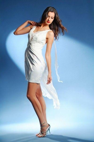 wedding dress, rövid esküvői ruha muszlin.
