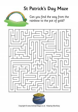 St. Patricks Day Mazes and Word Search | kids page | Pinterest