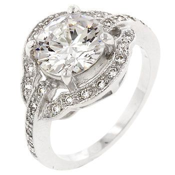Vintage Style Engagement Ring 3.5ct Setting.  Simulated Diamonds are so pretty anymore its near impossible to tell the difference. Love this look. Great for evening wear or cocktail too. 29.99