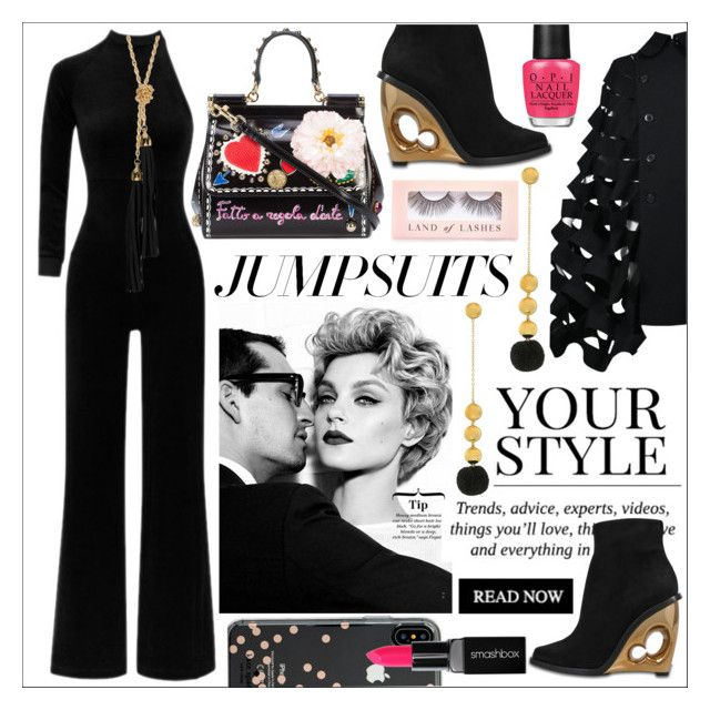 """One and Done Jumpsuits"" by calamity-jane-always ❤ liked on Polyvore featuring Vetements, Pussycat, Junya Watanabe, Elizabeth and James, Sterling Forever, Kate Spade, Smashbox, Dolce&Gabbana, Alexander McQueen and OPI"