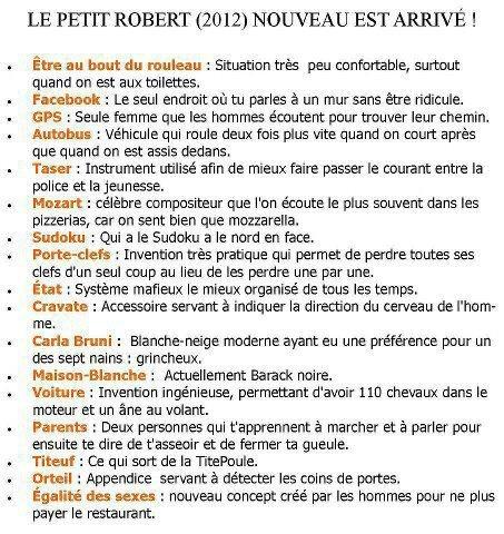 Le Petit Robert 2012: enfin du français!!!!