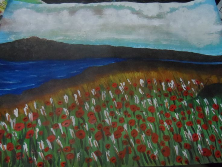 field of poppies and white flowers_poster paint