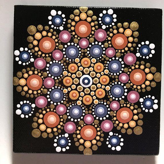 Hand Painted Mandala on Canvas Meditation Mandala Dot Art