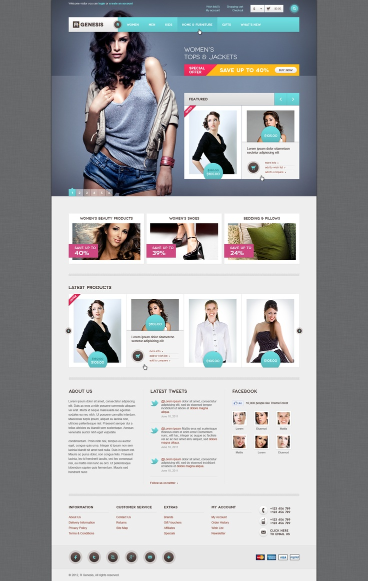 """""""R.Gen - OpenCart Modern Store Design"""" PSD theme is a complete package for OpenCart store. This theme include checkout and blog pages to make it complete package of store."""