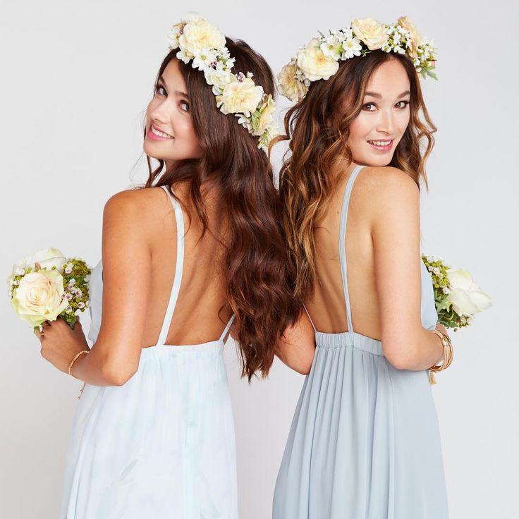 We've got the blue hue down with Baby Babers + Steel Blue Bridesmaid Dresses | Mumu Weddings