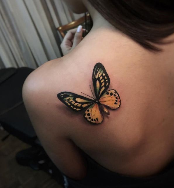 Best Animal Tattoo Designs - Magnificent butterfly tattoo by Alex Bruz...