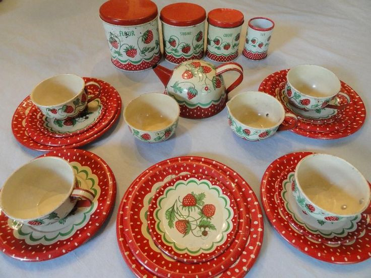 Vintage Tin Wolverine Strawberry Design Dish Set and Canisters from auntpatsyscottage on Ruby Lane