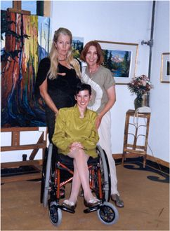 My first solo exhibition took place in Janicke Routs art studio in Calgary. Photo: Caprice, Janicke & my Mom Elizabeth June 1998.