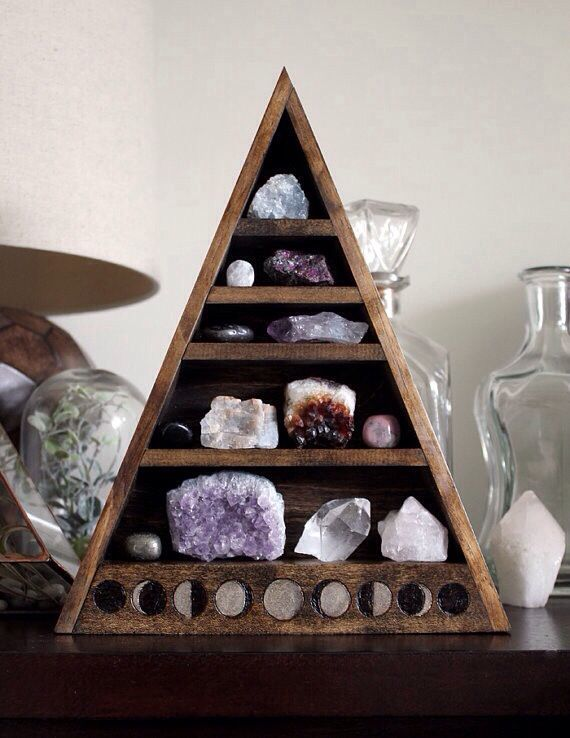 Occult Pagan Triangle Alter | Pyramid Shelves | Crystal Collection | Spiritual | Occult | Zen | Crystals | Sacred Space Ideas & Inspiration | Boho Room | Bohemian Bedroom | Wooden Geometric Display Box | Gemstones