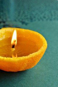 DIY orange tealight candle