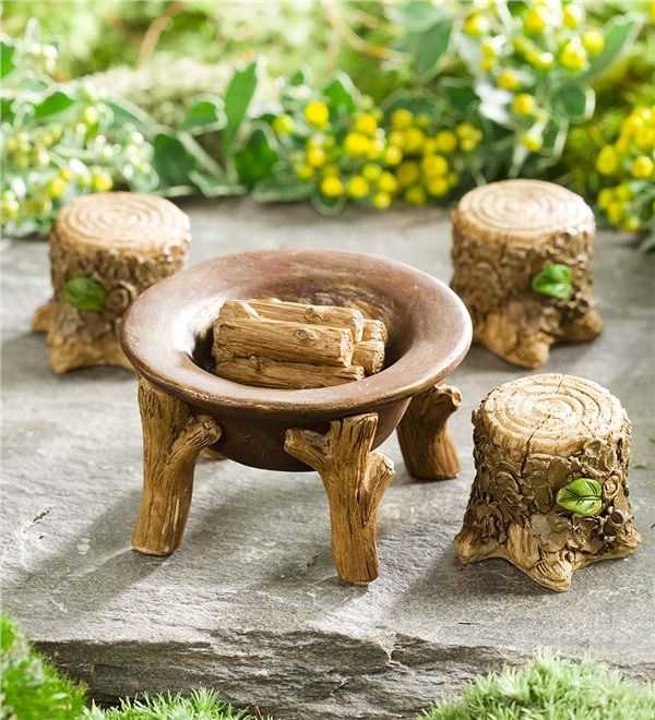 Miniature Fairy Garden Fire Pit Set. Fairies love to gather around the fire pit and toast tiny marshmallows, so bring this Fire Pit Set to your magical garden and warm their hearts.
