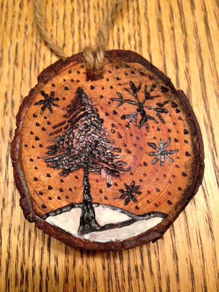 Rustic pine tree wood burned Christmas ornament - natural wood