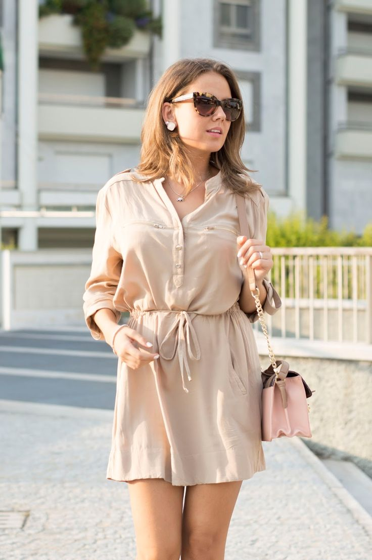 SHADES OF BEIGE: ABITO CAMICIA E ZEPPE ESPADRILLAS www.ellysa.it #ootd #beige #Chemisier #dress