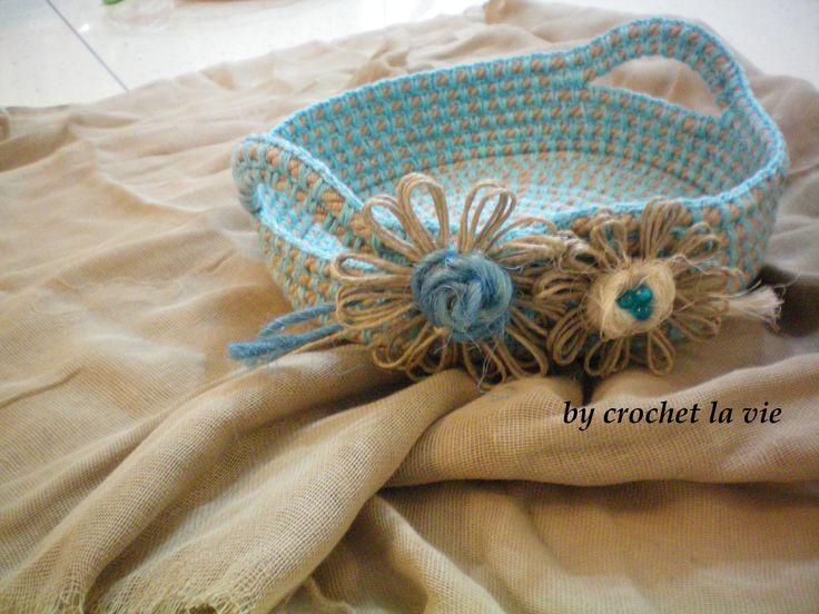blue crochet basket