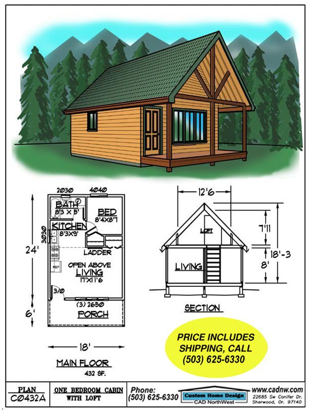 Plans for a nice 400 sf cabin Includes loft and patio