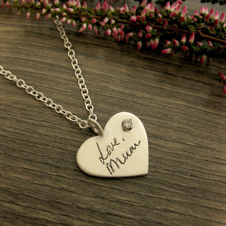Your Mother's Handwriting Necklace ~ Use any handwriting to create a truly meaningful gift.  Add a diamond or any precious gemstone.