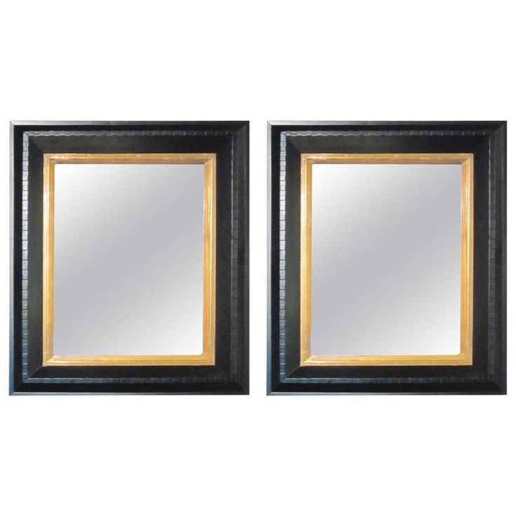 19th Century Black With Gold Trim Wall Mirror Dental Molding, France | From a unique collection of antique and modern wall mirrors at https://www.1stdibs.com/furniture/mirrors/wall-mirrors/