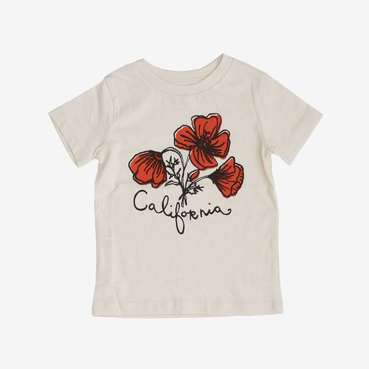 Minimalist Finnish design on cozy organic cotton. A warm red California Poppy on undyed organic cotton. Lap Shoulders. US-Made! Also available in onesie sizes. - Materials: 100% organic cotton - Desig