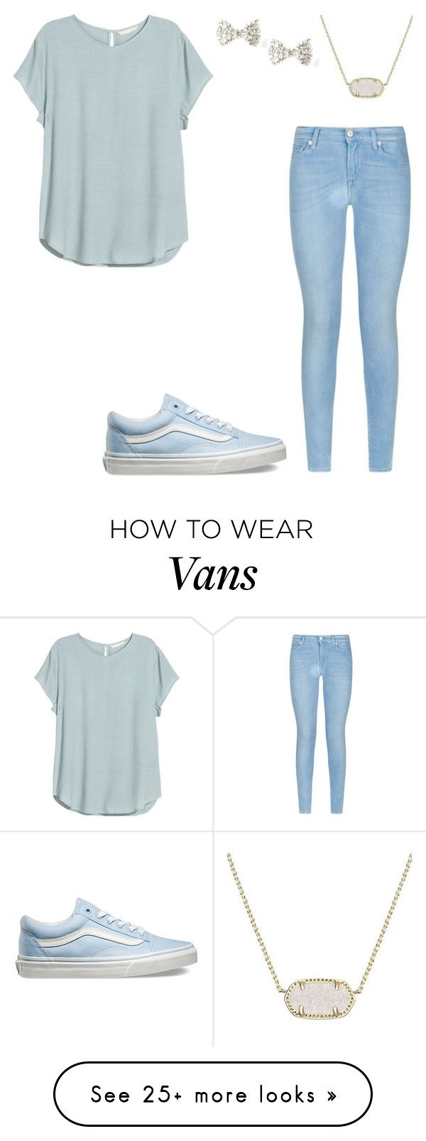 """""""Untitled #310"""" by nelson-iv on Polyvore featuring 7 For All Mankind, Vans, H&M, Kendra Scott, women's clothing, women's fashion, women, female, woman and misses"""