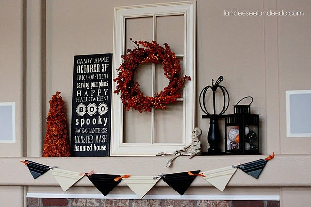 mantel decorations. Window: Halloween Mantels, Subway Art, Halloween Mantles, Fall Mantels, Halloween Crafts, Diy Craft, Old Window, Halloween Buntings, Halloween Signs
