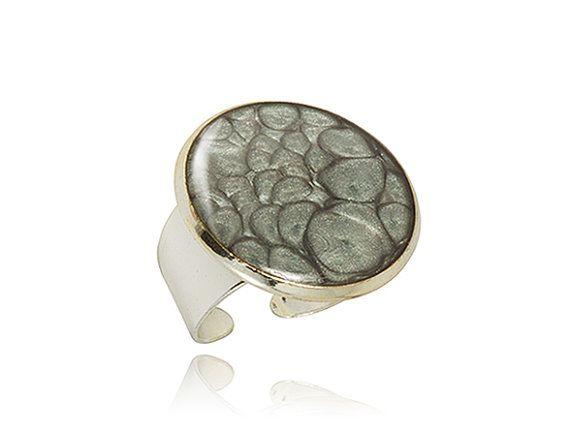 Grey silver ring Metallic vibrant  brilliant  by DragonPorter