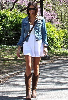 Western look. Nashville fashion. Cowgirl boots. white sundress, jean jacket…